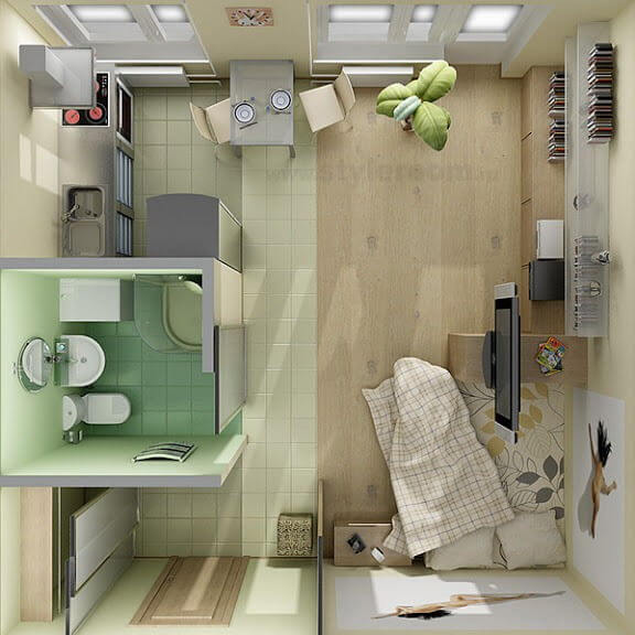 9 awesome tiny apartments apartment geeks for Small studio apartment space