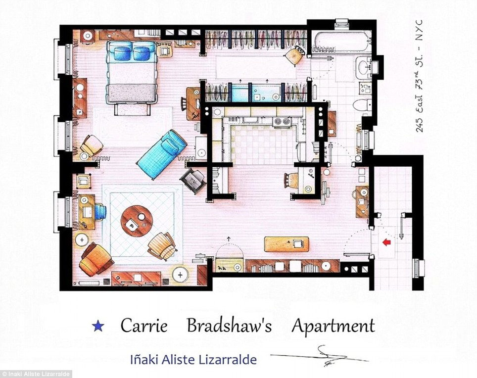 Amazing Sketched Floorplans Of Famous TV Apartments