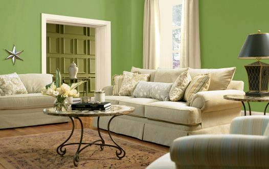 Green Victorian Living Room