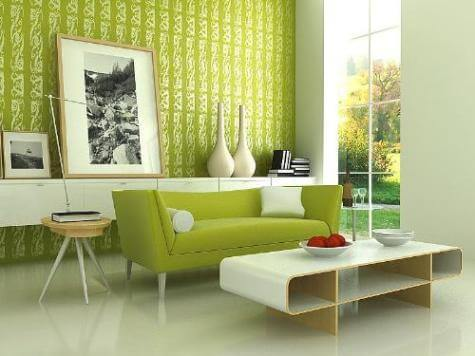 Lime Green Living Room Painting Idea