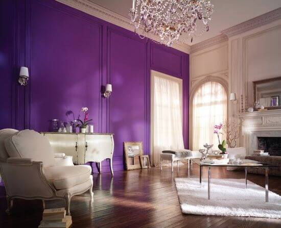 11. Purple accent walled living room