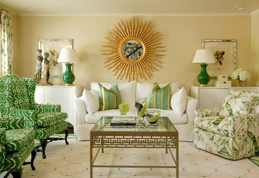Unique living room with different shades of green : unique-living-rooms - designwebi.com