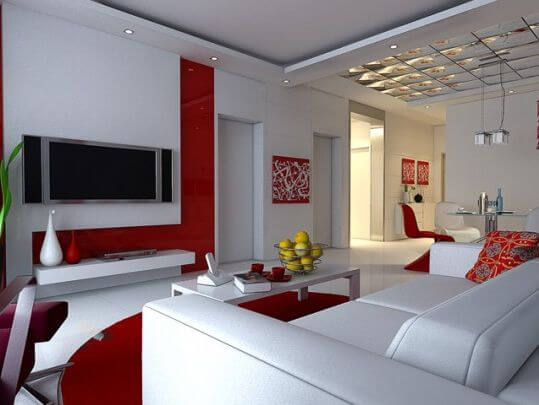 Very Neat Red And White Living Room Painting Idea