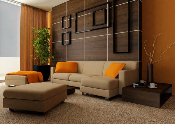 Wooden Brown And Orange Themed Minimalist Living Room
