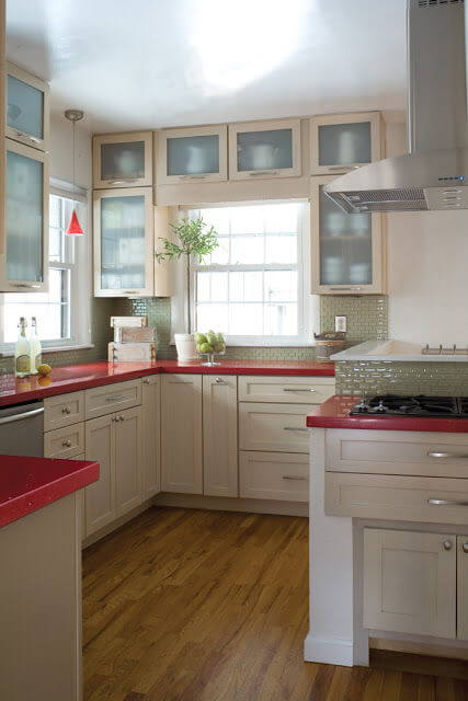 In This Case, The Red Countertops Look Great With This White And Simple  Complimentary Scheme. It Even Looks Good Near That Green Undertone In The  Glass ...