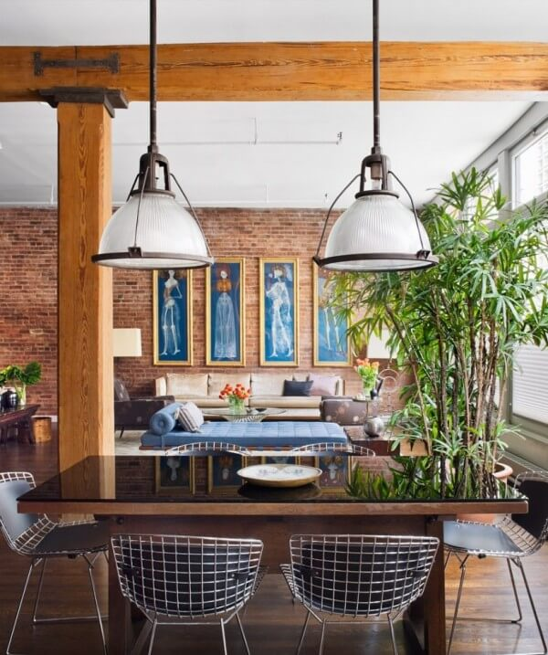 Genial Brick Wall Studio Apartment  By Stephan JAKLITSCH GARDNER Exposed Beam Dining Lit By Industrial Pendant Lights With Wire Chairs 600×717