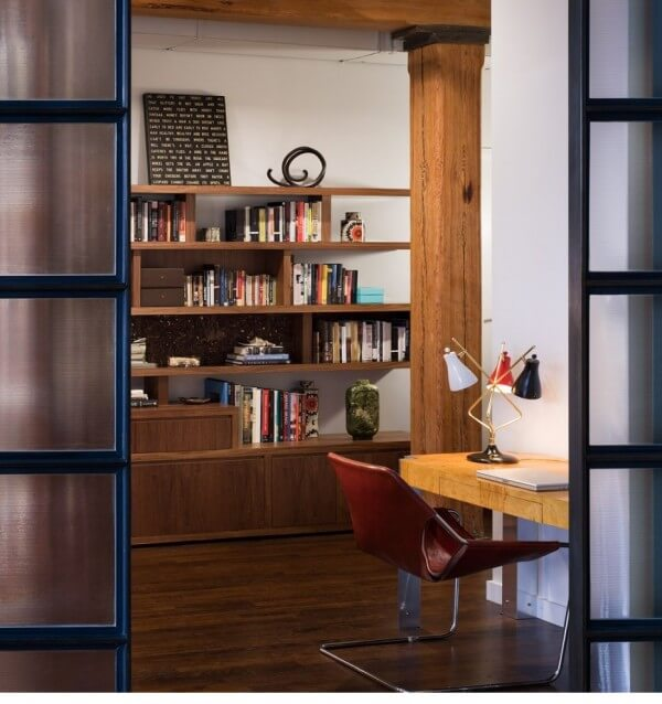 Brick Wall Studio Apartment  By Stephan JAKLITSCH GARDNER View To Library Through Japanese Style Double Doors 600×638
