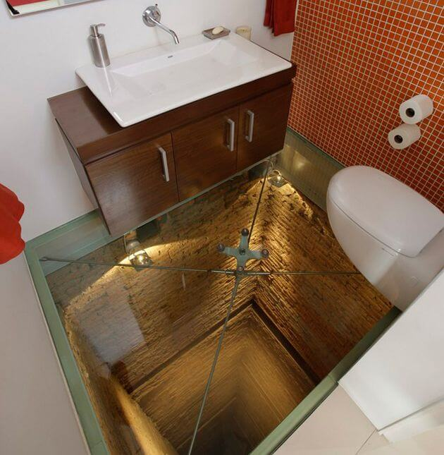 Glass Floor Bathroom Tile Design Mod Apartment Geeks