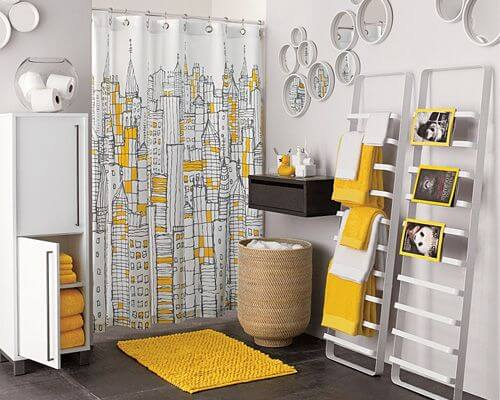 Grey Yellow Bathroom Interior
