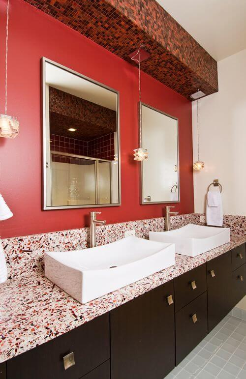 The red details in the countertop marble match perfectly with the red ...