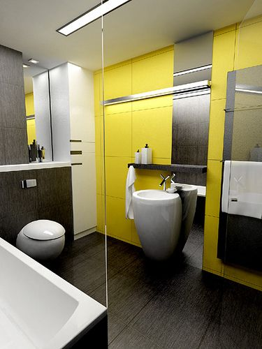 Bright inspiration the best yellow bathrooms apartment Bright yellow wall paint