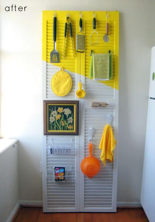 Arrange utensils and cloths on an outdated shutter door mod