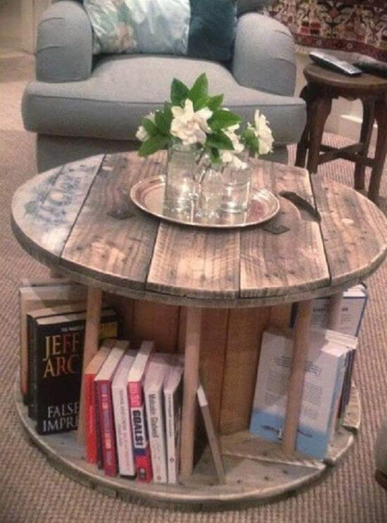 Cable Spool into a coffee table and book rack mod