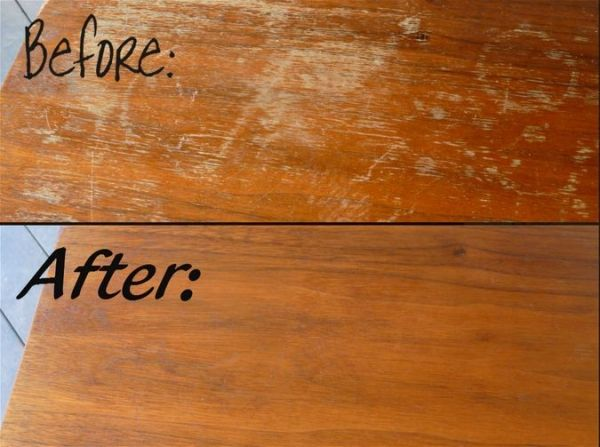Conceal scratches in wood furniture using vinegar mod