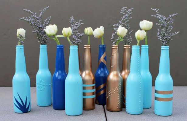 Convert Old Bottles into Flower Vases mod
