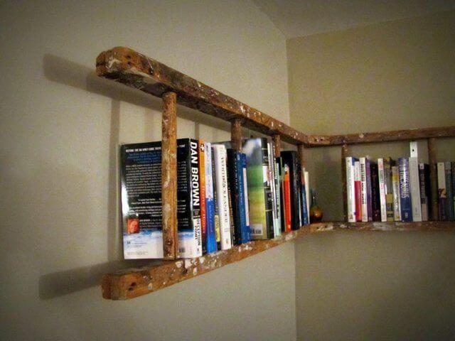 How about turning ladder into a book shelf mod