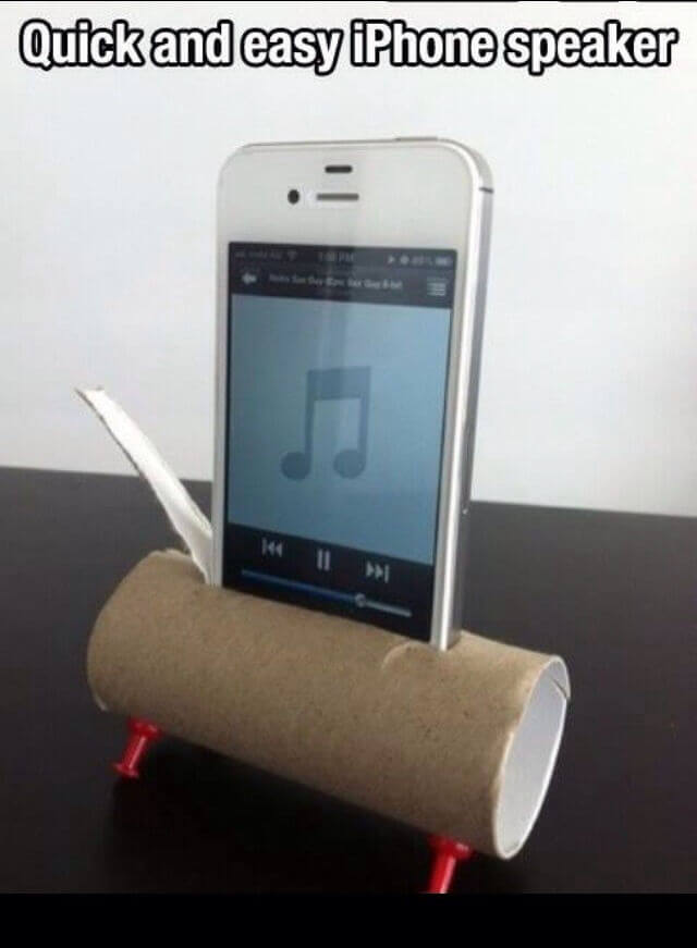 Quick and easy iPhone speaker with a toilet paper roll mod