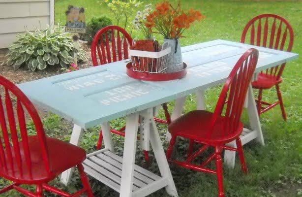 Turn an Old Door Frame into an Outdoor Picnic Table mod