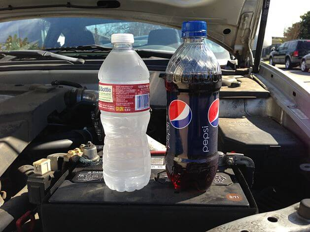 Use Pepsi and Bottled Water Clean Battery Terminals mod