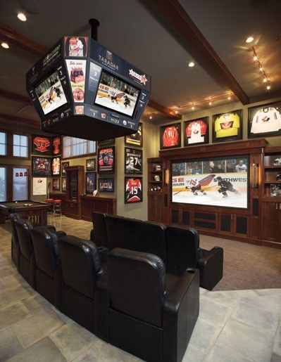 Basement hockey memorabilia and tv room mod