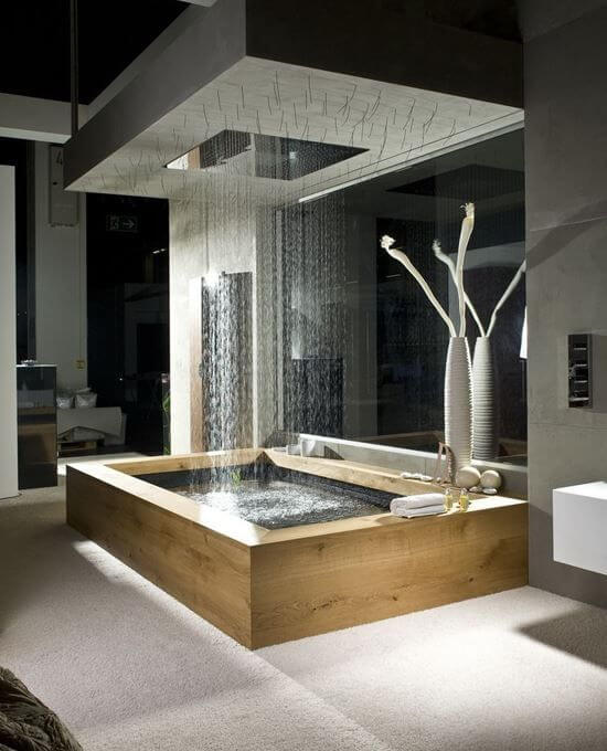 Beautiful wooden bath with overhead rain shower mod