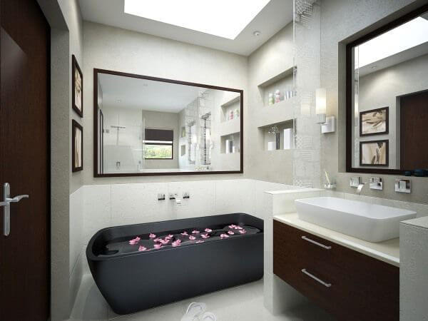 Rlaxing Bathroom with a Black Tub mod