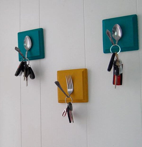 Vintage silverware key holders mod