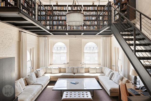 tribeca-loft-gorgeous-home-library