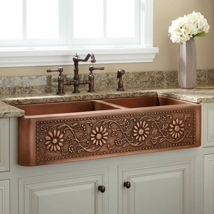 Double Well Farmhouse Copper Sink