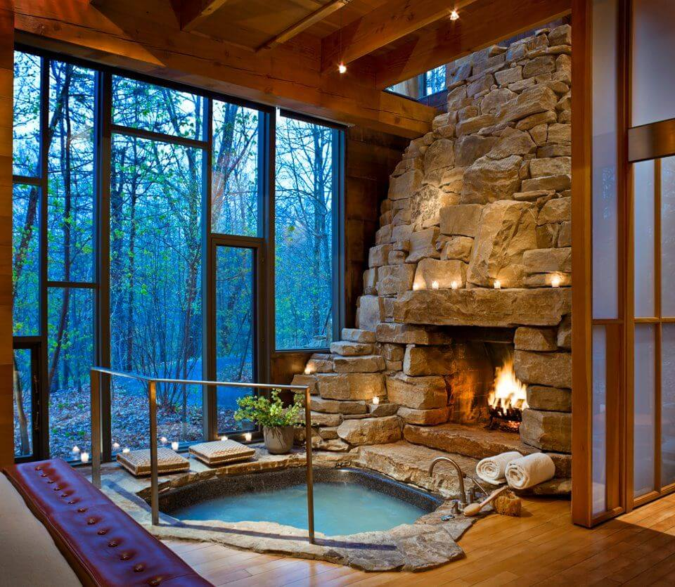 Rock Fireplace And Jacuzzi