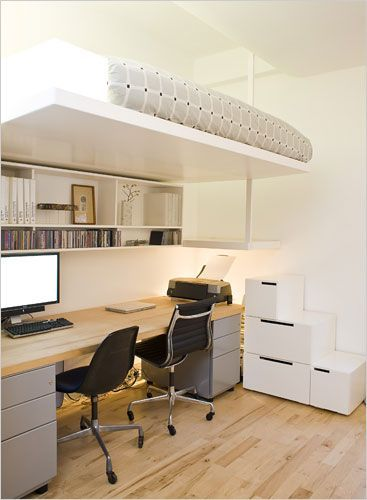 if you dont have anywhere to put your office desk in your small apartment then this will be the perfect solution for you all you need is a loft bed and apartment home office