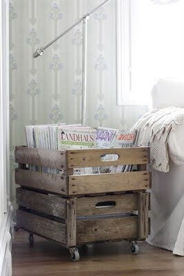 Crate with Rollers Magazine Rack