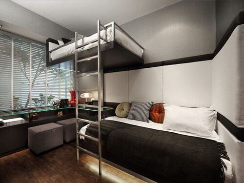 Modern Bunk Bed with Metal Ladders
