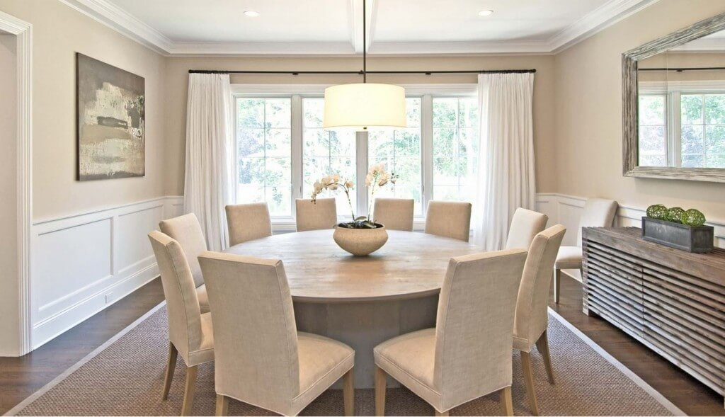 Modern Dining Room Painted and Staged in Neutral Colors