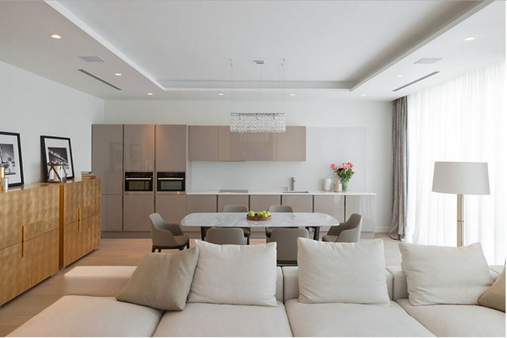 Modern Recessed Lighting in an Open Floor Apartment