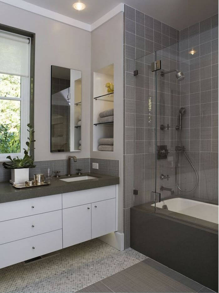 Small Modern Bathroom Charcoal and White