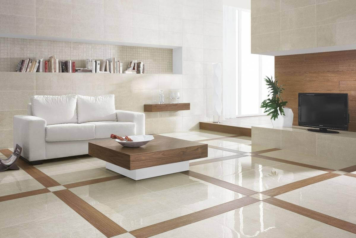 Ceramic Tile Flooring in a Modern Living Room