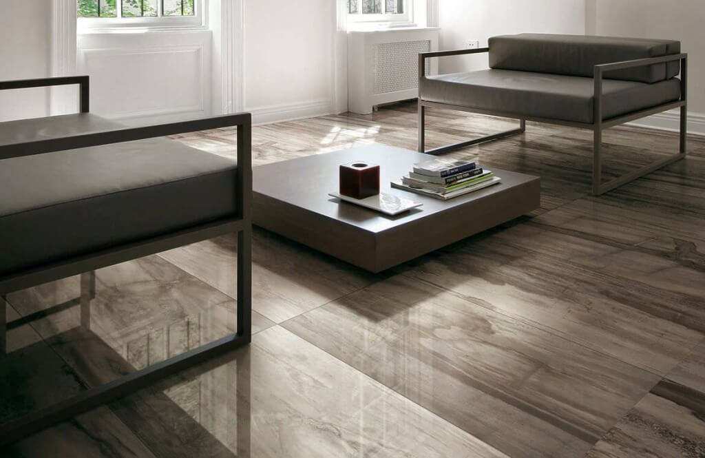 Ceramic Wood Floor In A Modern Living Room