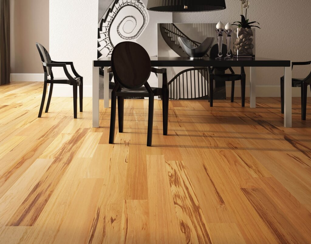 classic hardwood flooring in a contemporary dining room - Dining Room Flooring Options