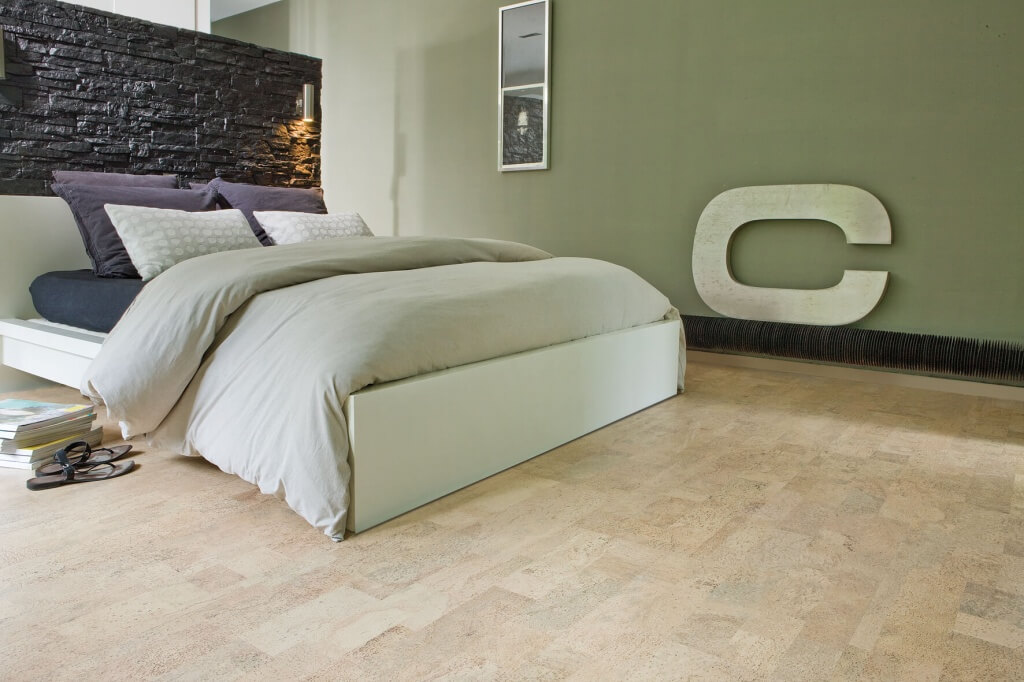 Cork Flooring In A Modern Bedroom