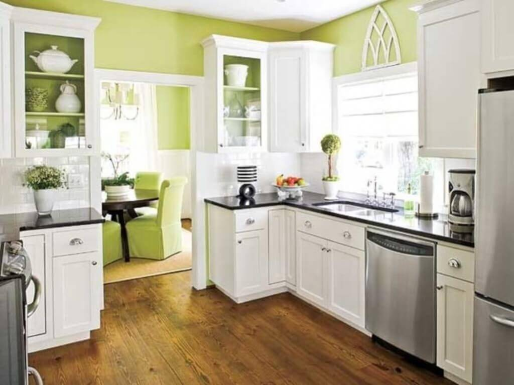 Green Walls in a Small Kitchen