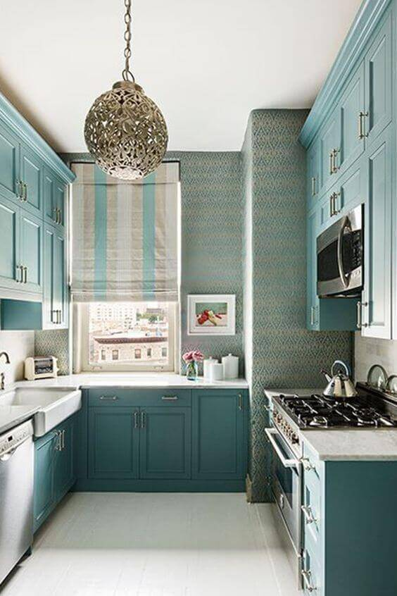 Small Kitchen With Teal Color Cabinets