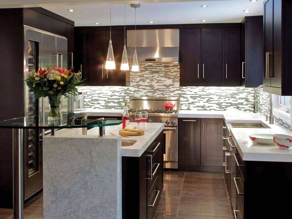 delightful Average Price For Kitchen Cabinets #6: Small Modern Kitchen with Dark Cabinets