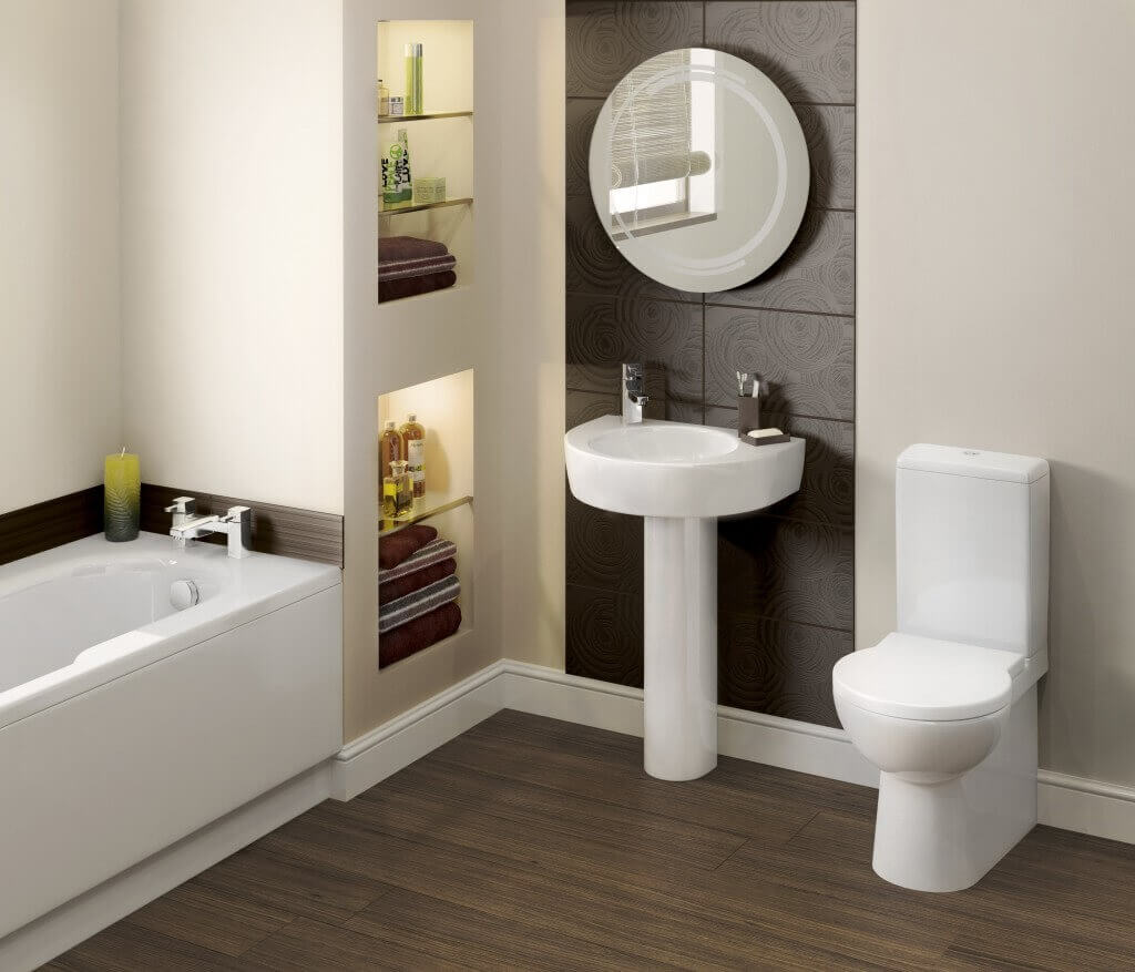 Small bathroom with built-in storage