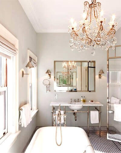 7 big ideas for a small bathroom remodel apartment geeks - Small crystal chandelier for bathroom ...