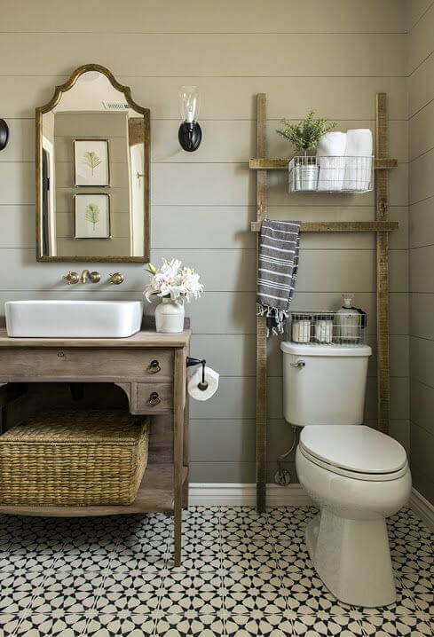 Vanity in a small rustic bathroom