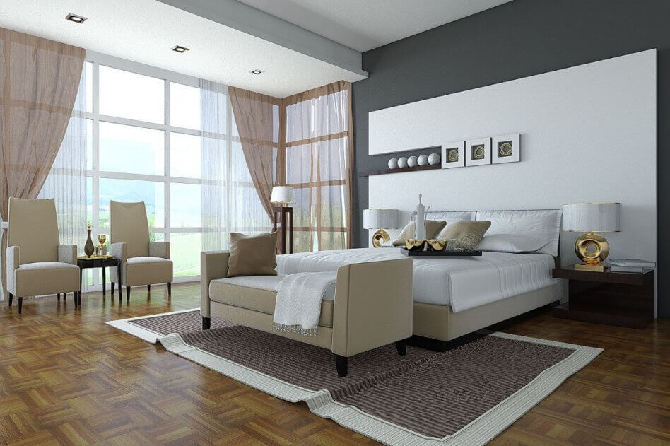 Grey and White Color in a Master Bedroom