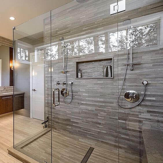 Large Walk-in Shower with Porcelain Tile