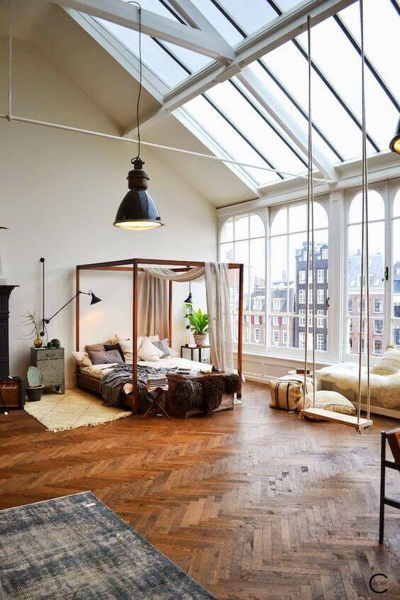 Large windows and skylights in a loft style apartment