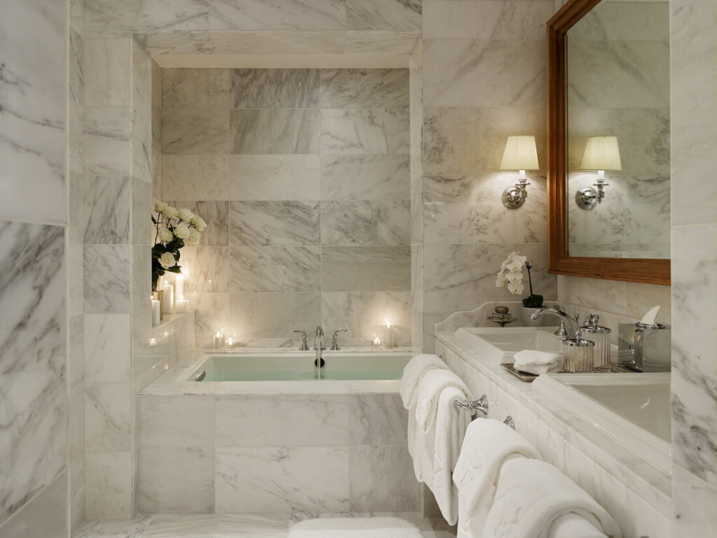 Marble Tile In a Small Bathroom
